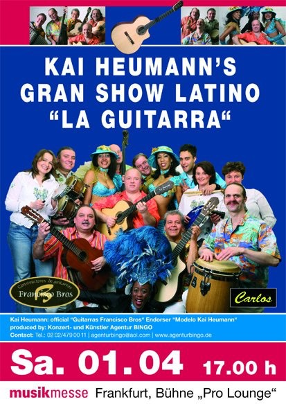 "colorful poster of ""GRAN show Latino"" with 14 musicians and dancers. In the middle: Kai Heumann."